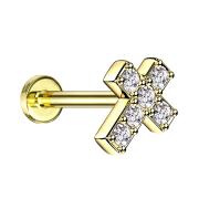 Micro Labret Innengewinde vergoldet Kreuz mit Kristall...