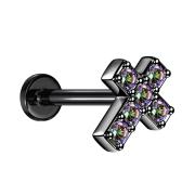 Micro Labret Innengewinde schwarz Kreuz mit Kristall...