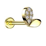 Micro Labret Innengewinde vergoldet Herzspross Kristalle...
