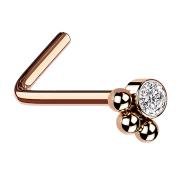 Nasenstecker abgebogen rosegold Kristall mit drei Kugeln