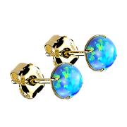 Ohrstecker 14k gold mit Opal blau
