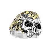 Ring silber Totenkopf mit Freimaurer Symbol