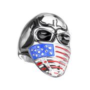Ring silber Schädel mit US Gesichtsmaske
