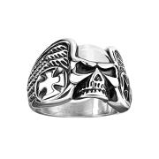 Ring silber Schädel Flügel und Eisernes Kreuz