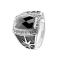 Ring silber schwarzer facettierter Stein mit Sunburst