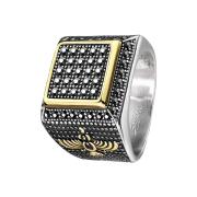Ring silber schwarze Kristalle und goldenem Rand