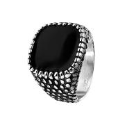 Ring silber Drachenhaut und schwarzes Emaille Quadrat