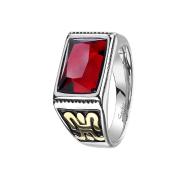 Ring silber roter facettierter Juwel