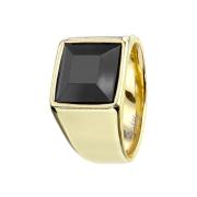 Ring vergoldet mit facettiertem Onyx Stein