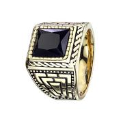 Ring vergoldet mit facettiertem Onyx Stein und Muster