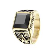 Ring vergoldet mit facettiertem Onyx Stein und Freimaurer...