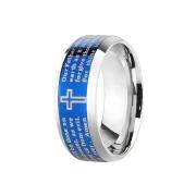 Ring silber Vaterunser blau