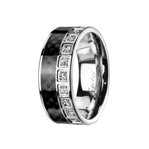 Ring silber Carbon und Kristalle