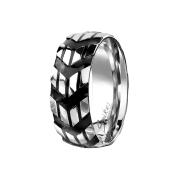Ring silber Winkelmuster