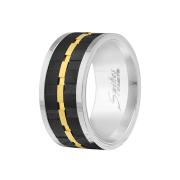 Ring silber gerillt gold und schwarz
