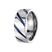 Ring silber gestreift blau