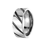 Ring silber gestreift schwarz