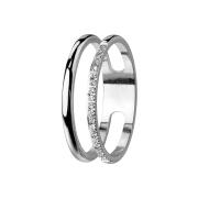 Ring silber Doppelring mit Kristallen
