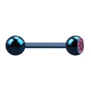 Barbell dunkelblau mit Kugel und Kugel Kristall pink