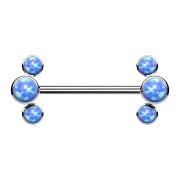 Threadless Barbell silber front drei Opale blau