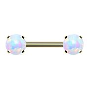 Threadless Barbell vergoldet front mit Opal weiss gefasst