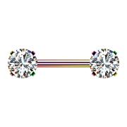 Threadless Barbell farbig front mit Kristall silber gefasst