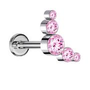 Micro Threadless Labret silber fünf Kristalle pink