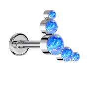 Micro Threadless Labret silber fünf Opale blau