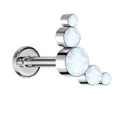 Micro Threadless Labret silber fünf Opale weiss