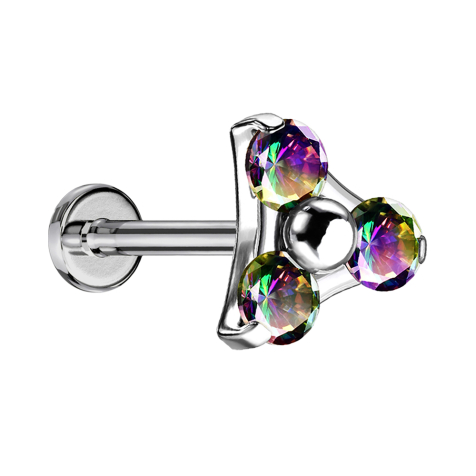 Micro Threadless Labret silber Dreieck drei Kristalle dunkel multicolor