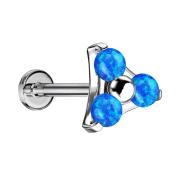 Micro Threadless Labret silber Dreieck drei Opale blau