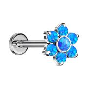 Micro Threadless Labret silber Blume Opale blau