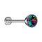 Micro Threadless Labret silber Halbkugel mit Kristall dunkel multicolor