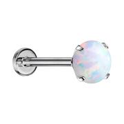 Micro Threadless Labret silber Opal weiss gefasst