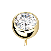 Threadless Halbkugel 14k gold mit Kristall silber