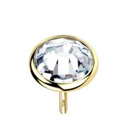 Threadless Scheibe 14k gold mit Kristall silber