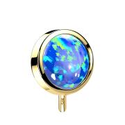 Threadless Scheibe 14k gold front mit Opal blau