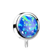 Threadless Scheibe 14k weissgold front mit Opal blau