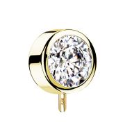 Threadless Scheibe 14k gold front mit Kristall silber