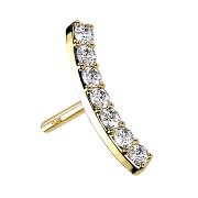 Threadless gebogen 14k gold mit Kristallen silber