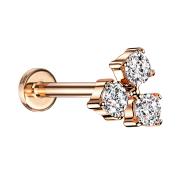 Micro Labret Innengewinde rosegold drei Kristalle silber