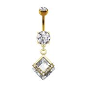 Banane 14k vergoldet mit zwei Kugeln Kristall silber Anhänger zwei Diamant und Kristalle
