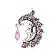 Banane silber mit Kugel Mond und Kristall pink
