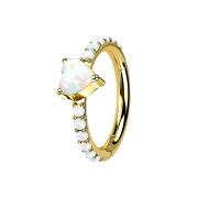Micro Segmentring klappbar vergoldet seitlich Opale und Herz