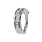 Micro Segmentring klappbar silber drei Ringe reihe Kristalle