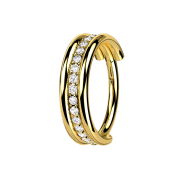 Micro Segmentring klappbar vergoldet drei Ringe reihe...
