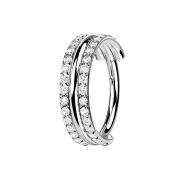 Micro Segmentring klappbar silber drei Ringe doppelreihe...
