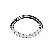 Micro Segmentring klappbar schwarz Oval front Kristalle...