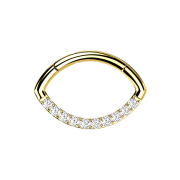 Micro Segmentring klappbar vergoldet Oval front Kristalle...