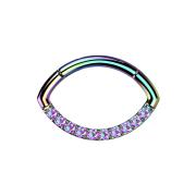Micro Segmentring farbig klappbar Oval front Kristalle...